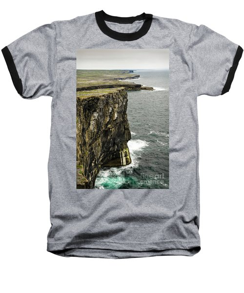 Baseball T-Shirt featuring the photograph Inishmore Cliffs And Karst Landscape From Dun Aengus by RicardMN Photography