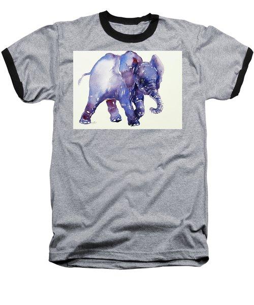 Inky Blue Elephant Baseball T-Shirt