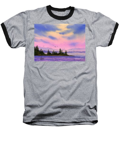 Baseball T-Shirt featuring the painting Inland Sea Sunset by James Williamson