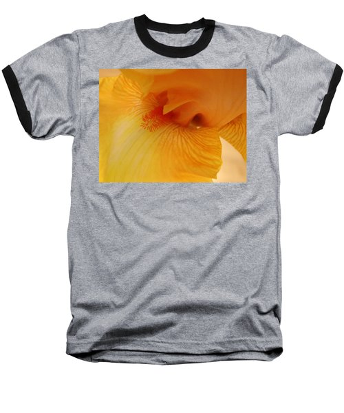 Inner Iris, Yellow, Close-up Baseball T-Shirt by Jana Russon