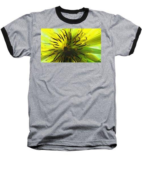 Baseball T-Shirt featuring the digital art Inside A Yellow Goatsbeard  by Shelli Fitzpatrick