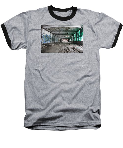 Inside Detroit Packard Plant  Baseball T-Shirt by John McGraw