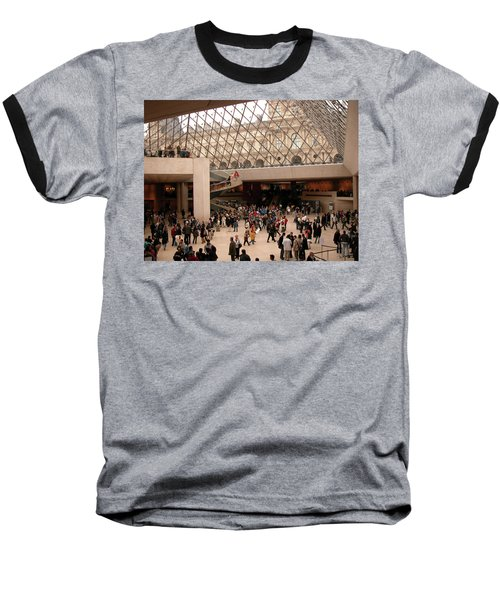 Baseball T-Shirt featuring the photograph Inside Louvre Museum Pyramid by Mark Czerniec