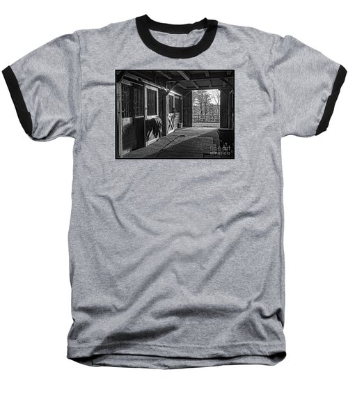 Baseball T-Shirt featuring the photograph Inside The Horse Barn Black And White by Edward Fielding