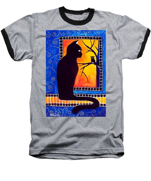 Insomnia - Cat And Owl Art By Dora Hathazi Mendes Baseball T-Shirt