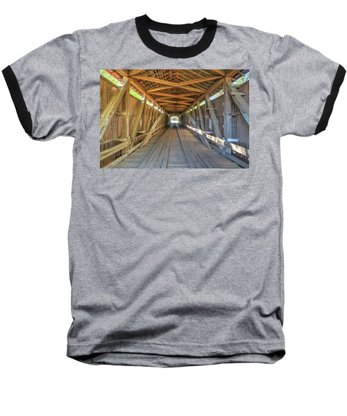 Baseball T-Shirt featuring the photograph Interior View - Conley's Ford Covered Bridgee by Harold Rau