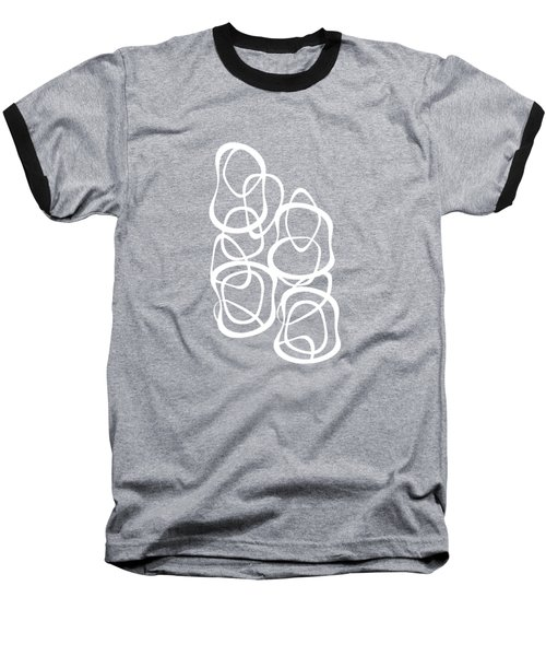 Baseball T-Shirt featuring the digital art Interlocking - White On Black - Pattern by Menega Sabidussi