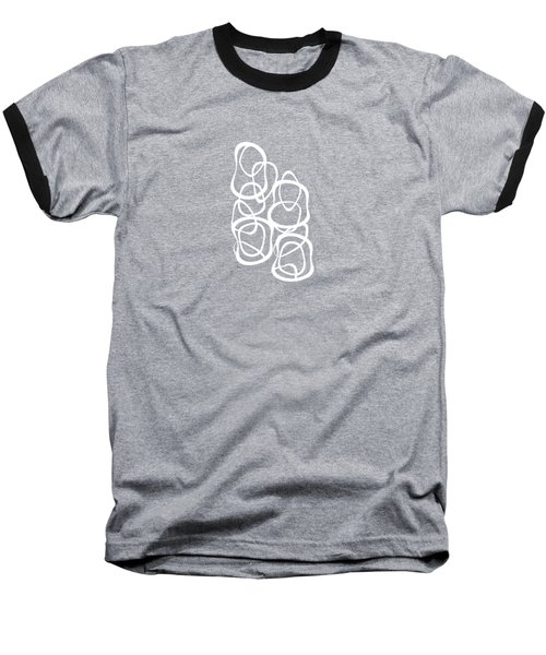 Interlocking - White On Soft Gray Owl - Pattern Baseball T-Shirt