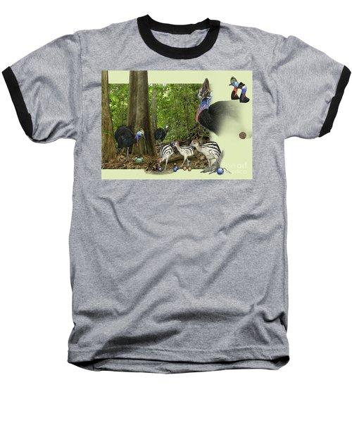 Zoo Nature Interpretation Panel Cassowaries Blue Quandong Baseball T-Shirt