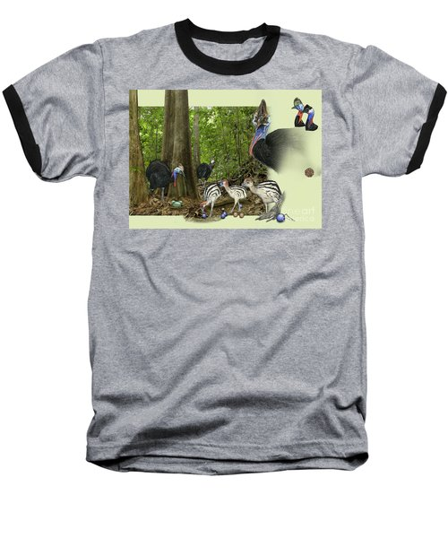 Zoo Nature Interpretation Panel Cassowaries Blue Quandong Baseball T-Shirt