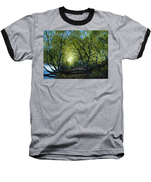 Baseball T-Shirt featuring the painting Into The Light by Billie Colson