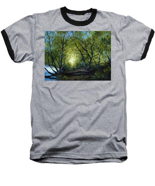 Into The Light Baseball T-Shirt by Billie Colson