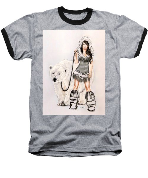 Inuit Pin-up Girl Baseball T-Shirt by Teresa Wing