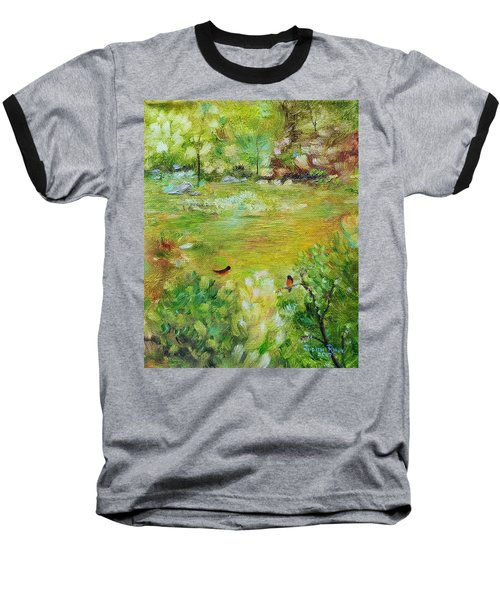 Baseball T-Shirt featuring the painting Invincible Spring by Judith Rhue