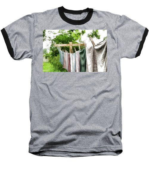Baseball T-Shirt featuring the photograph Iowa Farm Laundry Day  by Wilma Birdwell