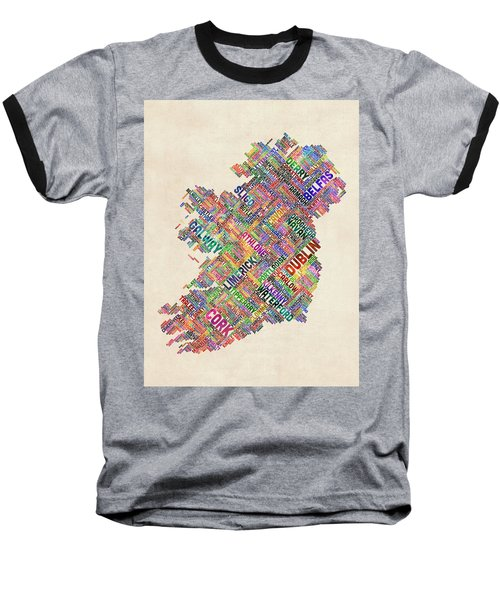 Ireland Eire City Text Map Derry Version Baseball T-Shirt
