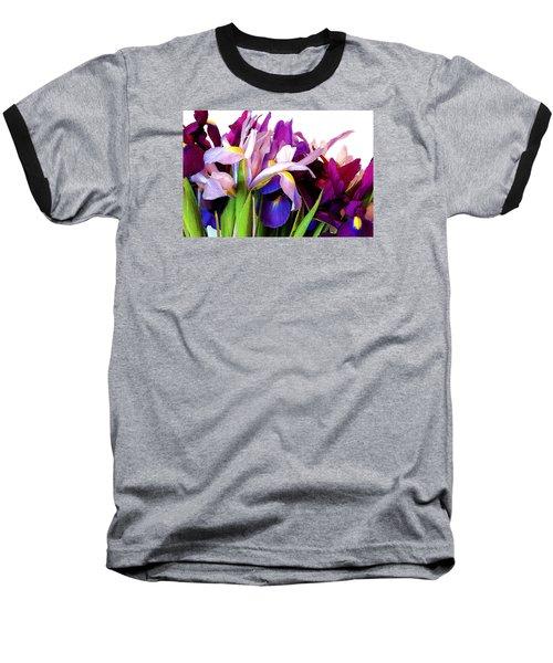 Iris Bouquet Baseball T-Shirt by Janis Nussbaum Senungetuk