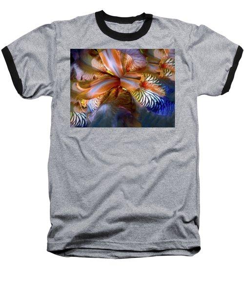 Baseball T-Shirt featuring the mixed media Iris Dream by Lynda Lehmann