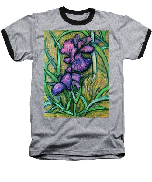 Baseball T-Shirt featuring the painting Iris For Vincent - Contemporary Fauvist Post-impressionist Oil Painting Original Art On Canvas by Xueling Zou
