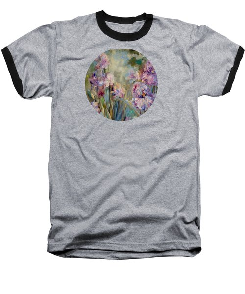 Baseball T-Shirt featuring the painting Iris Garden by Mary Wolf