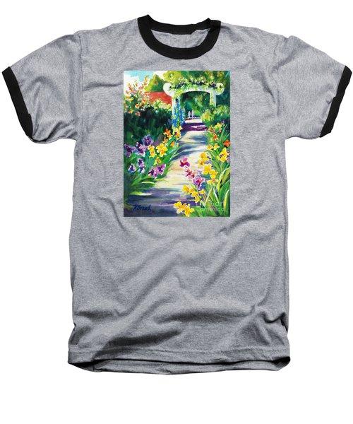 Iris Garden Walkway   Baseball T-Shirt by Kathy Braud