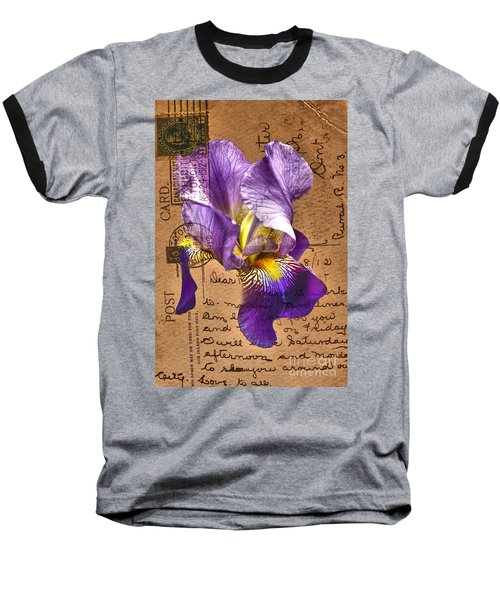 Iris On Vintage 1912 Postcard Baseball T-Shirt