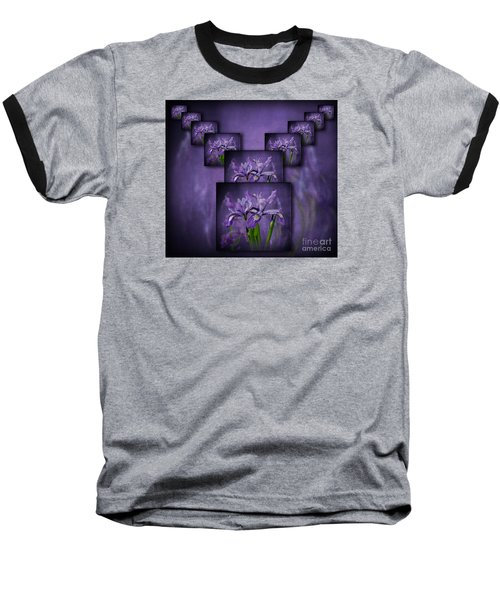 Iris Stack Baseball T-Shirt by Shirley Mangini