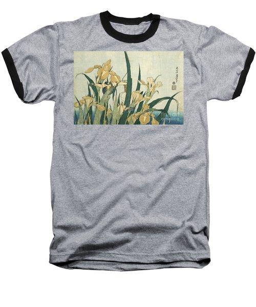 Irises With A Grasshopper Baseball T-Shirt