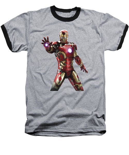Baseball T-Shirt featuring the mixed media Iron Man Splash Super Hero Series by Movie Poster Prints