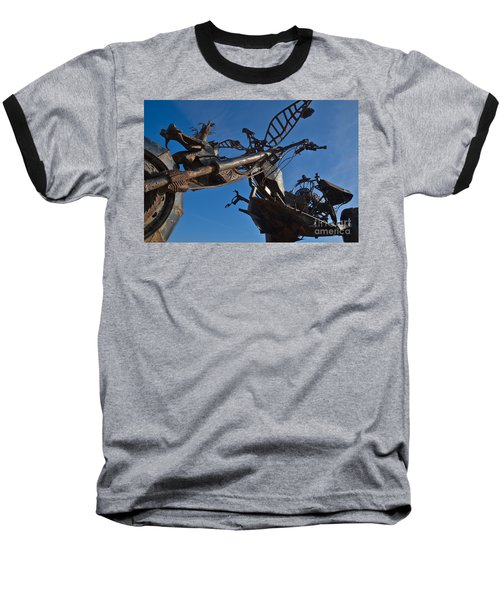 Iron Motorcycle Sculpture In Faro Baseball T-Shirt