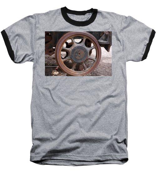 Iron Train Wheel Baseball T-Shirt by Aidan Moran