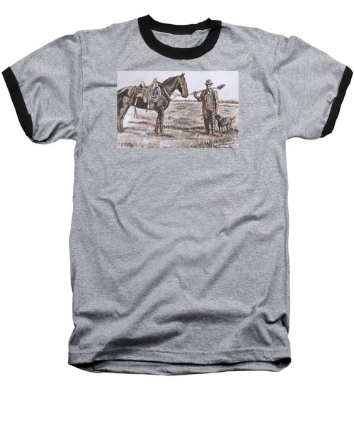Baseball T-Shirt featuring the painting Irrigating The Hay Meadows Historical Vignette by Dawn Senior-Trask