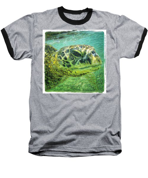 Baseball T-Shirt featuring the digital art Isabelle The Turtle by Erika Swartzkopf
