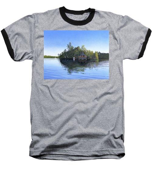 Baseball T-Shirt featuring the painting Island Boathouse Muskoka  by Kenneth M Kirsch