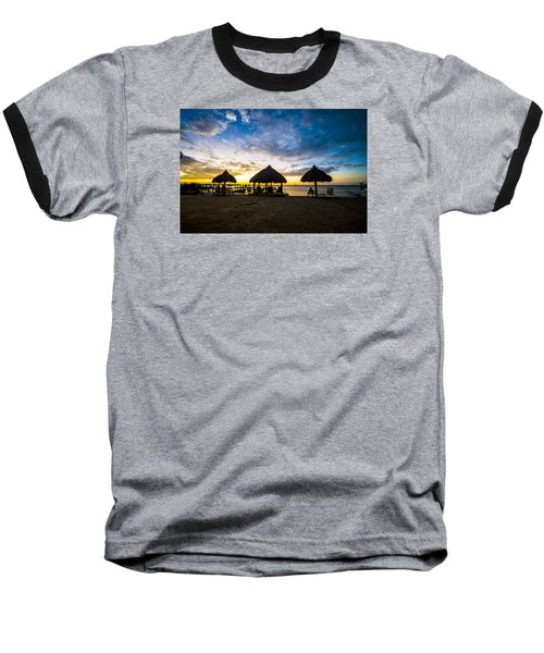 Island Huts Sunset Baseball T-Shirt by Kevin Cable