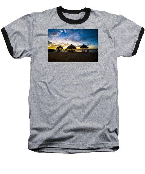 Island Huts Sunset Baseball T-Shirt