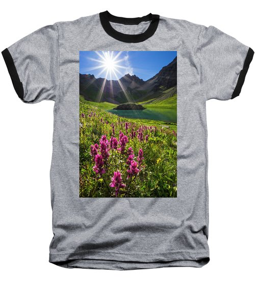 Island Lake Flowers Baseball T-Shirt