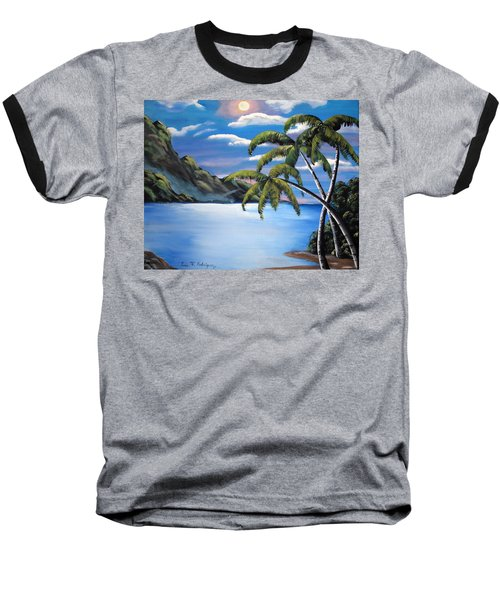 Island Night Glow Baseball T-Shirt by Luis F Rodriguez