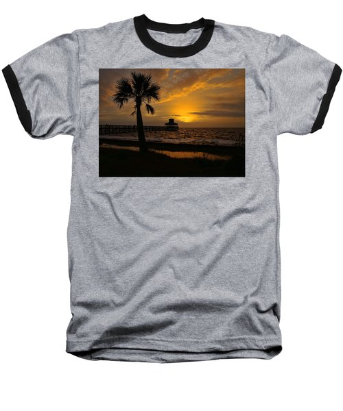 Island Sunrise Baseball T-Shirt by Judy Vincent