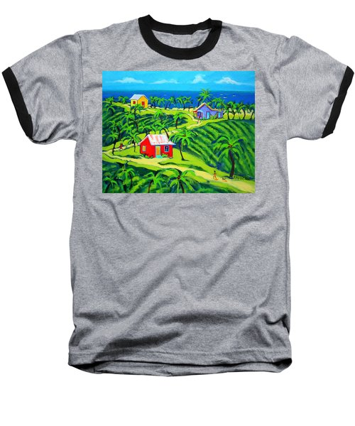 Island Time - Colorful Houses Caribbean Cottages Baseball T-Shirt by Rebecca Korpita