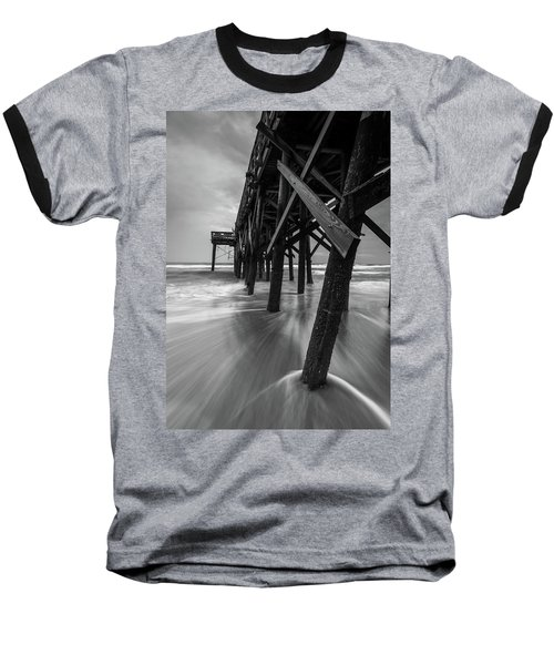 Isle Of Palms Pier Water In Motion Baseball T-Shirt