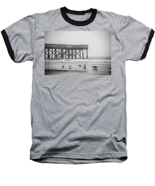 Isle Of Palms Pier And Fog Baseball T-Shirt