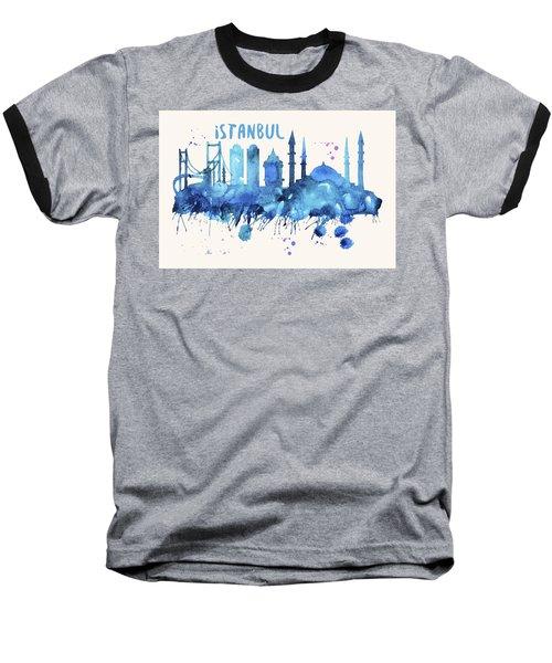 Istanbul Skyline Watercolor Poster - Cityscape Painting Artwork Baseball T-Shirt