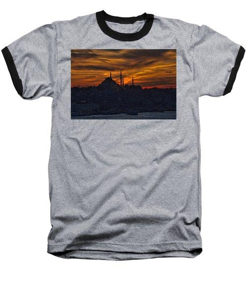 Istanbul Sunset - A Call To Prayer Baseball T-Shirt by David Smith