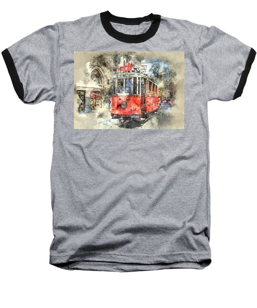 Istanbul Turkey Red Trolley Digital Watercolor On Photograph Baseball T-Shirt