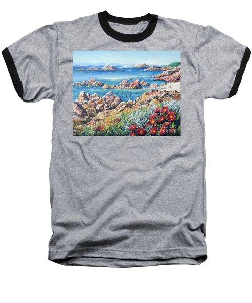 Italian Coastline Baseball T-Shirt by Lou Ann Bagnall