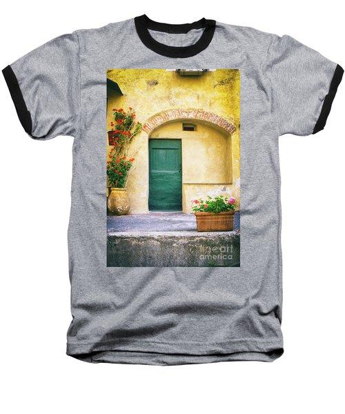 Baseball T-Shirt featuring the photograph Italian Facade With Geraniums by Silvia Ganora