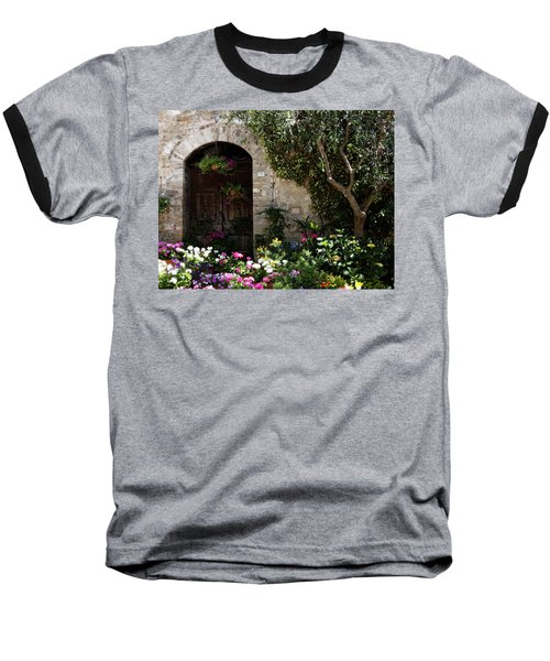 Italian Front Door Adorned With Flowers Baseball T-Shirt