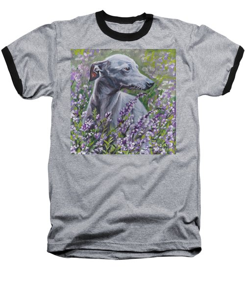 Baseball T-Shirt featuring the painting  Italian Greyhound In Flowers by Lee Ann Shepard