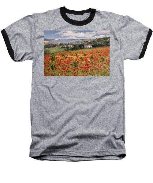 Italian Poppy Field Baseball T-Shirt
